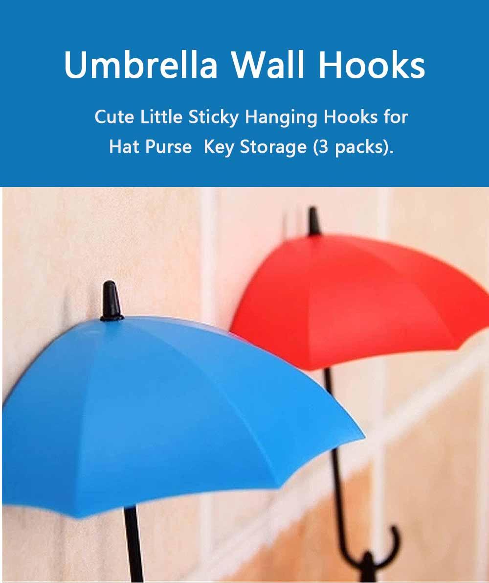 Umbrella Wall Hooks, Cute Little Sticky Hanging Hooks for Hat Purse Key Storage (3 packs) 0
