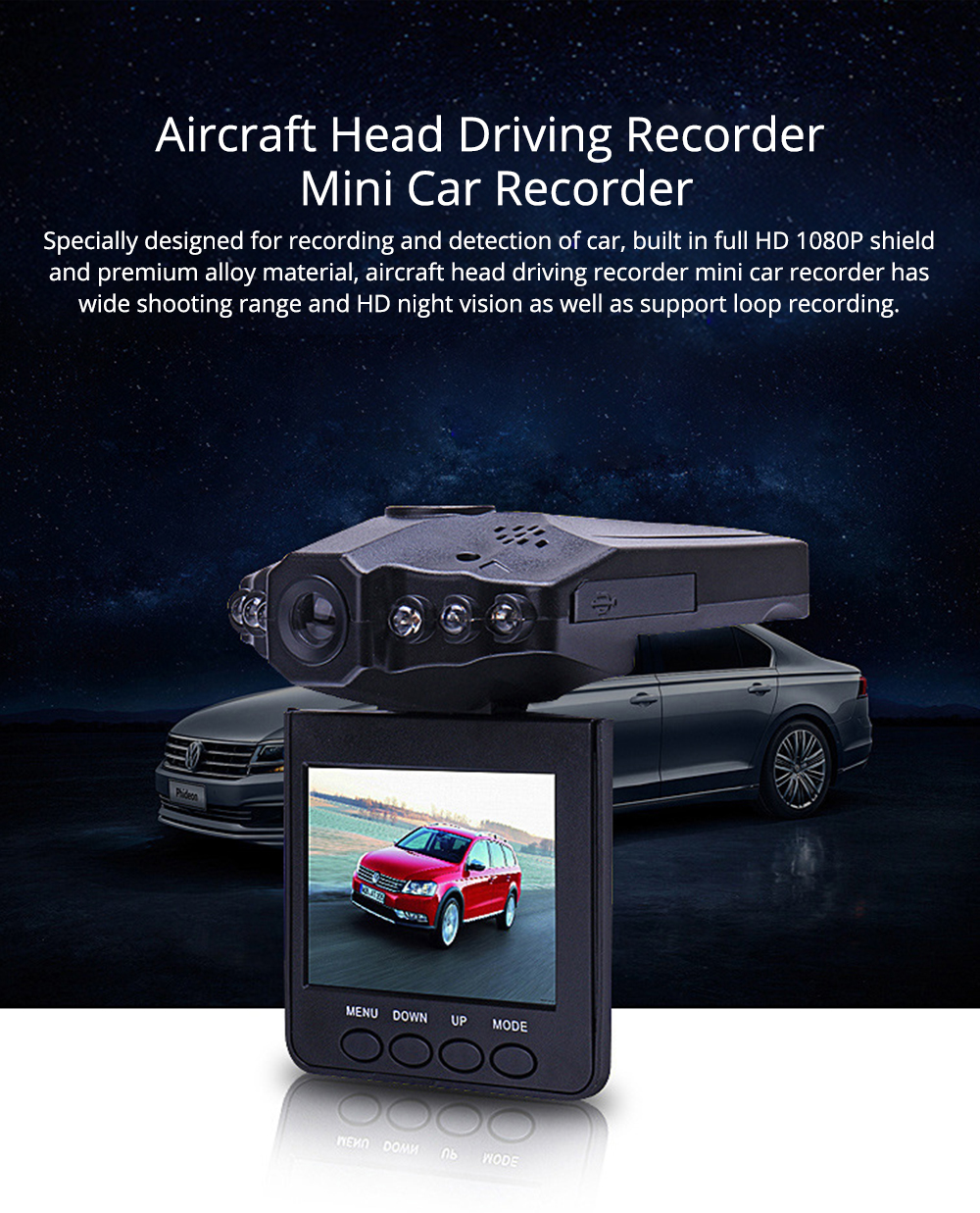 Aircraft Head Driving Recorder, Wide-angle Infrared Night Vision HD No Leakage Seconds as Mini Car Recorder 0