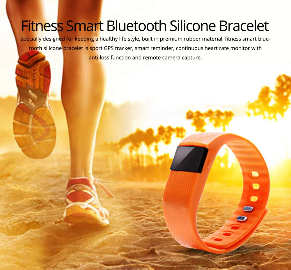 Fitness Smart Bluetooth Silicone Bracelet With Anti-loss Remote Photograph for Sleep Monitoring and Step Counting 0