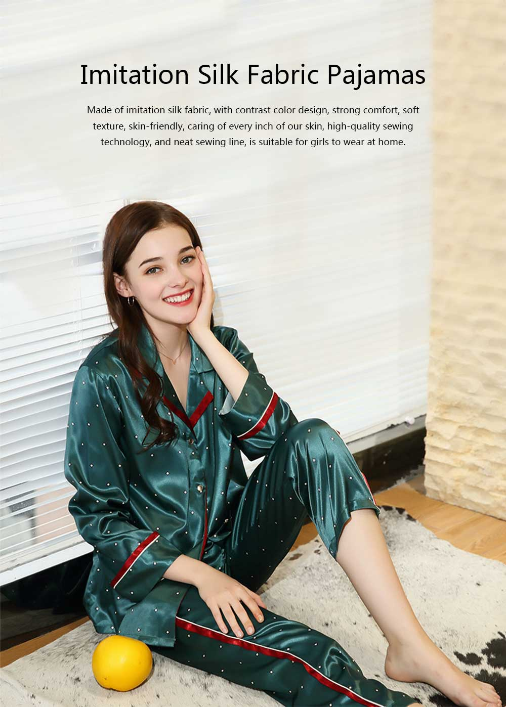 Breathable Soft Imitation Silk Fabric Pajamas, Women's Long-sleeve Trousers Printed Tracksuit 2019 0