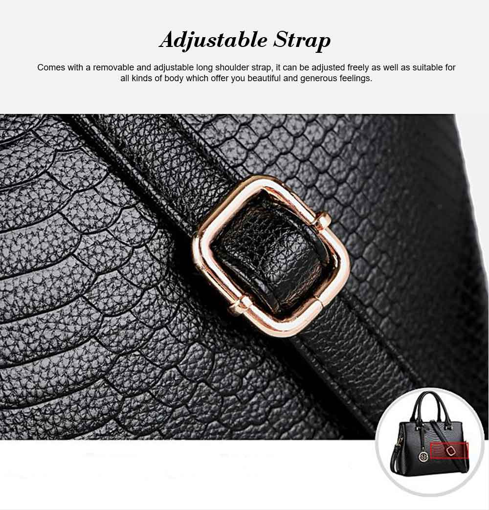 Leather Crocodile Pattern Fashion Handbag With Firm Hooks, Scratchproof Waterproof Messenger Bag for Middle-aged Mother 10