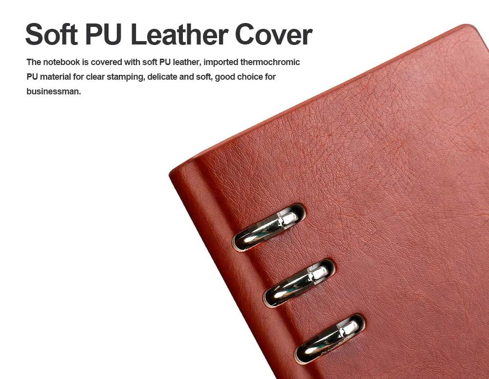 Dark Color A4/A5/B5/A6/A7 PU Leather Loose Leaf Notebook, Uncoated Woodfree Paper Spiral Binder Cover 200 Pages 2