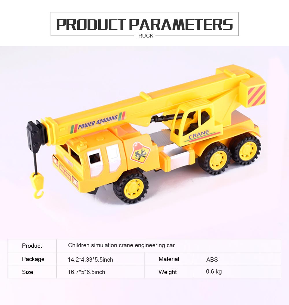 Children's Simulation Crane Engineering Car, Inertial Vehicle Plastic Model Toy Car 4