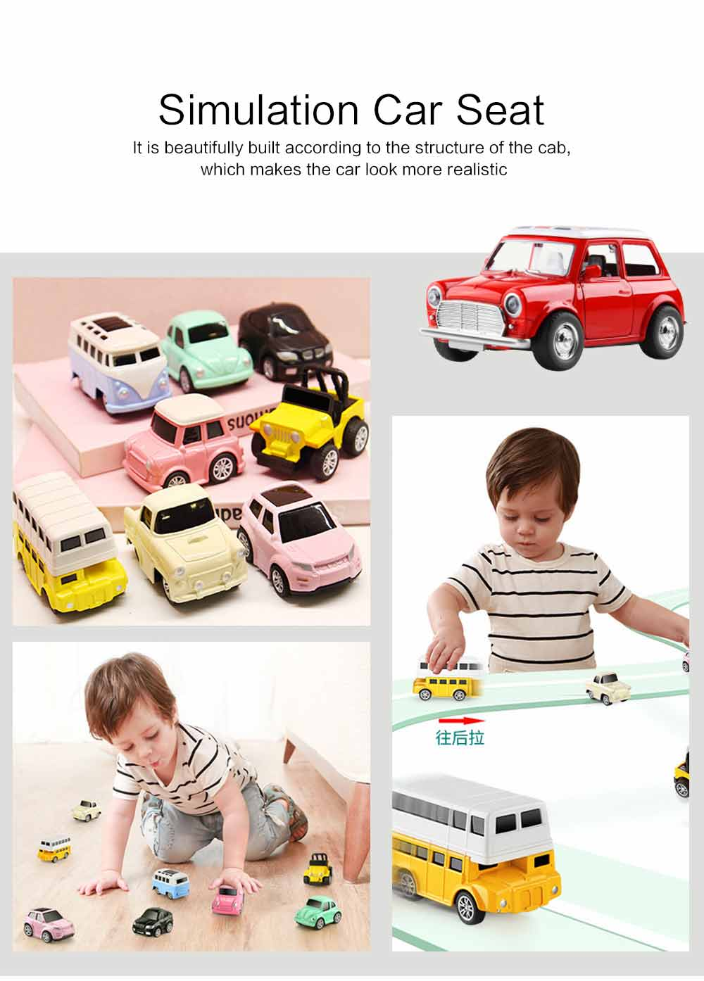 Children Toy Car Pull Back Car Set, Alloy Puzzle Car, Mobilization Q Version Mini Toy Car for Children 1