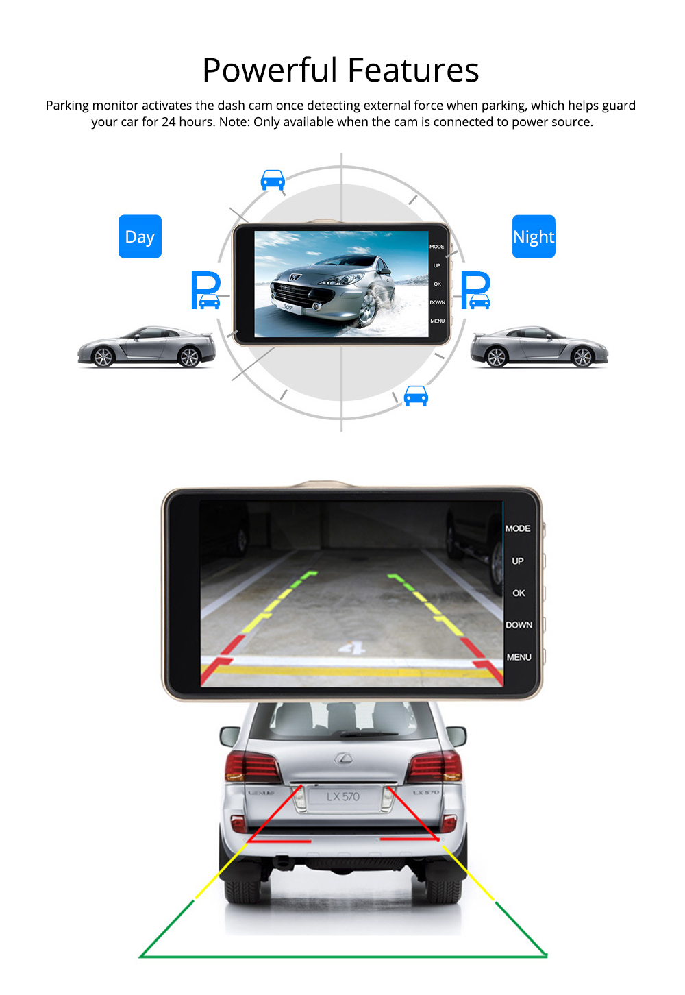 Driving Recorder HD 1080P Night Vision Large Wide Angle Camera Parking Monitor for Cars, Cab Driver 5