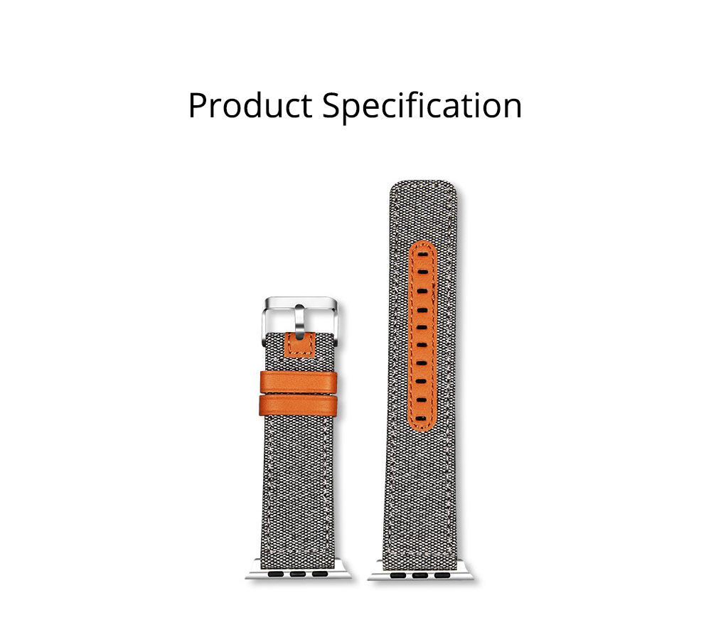 Genuine Leather Apple Watchband Strap with Stainless Steel Watch Buckle for Apple iWatch 1/2/3 7