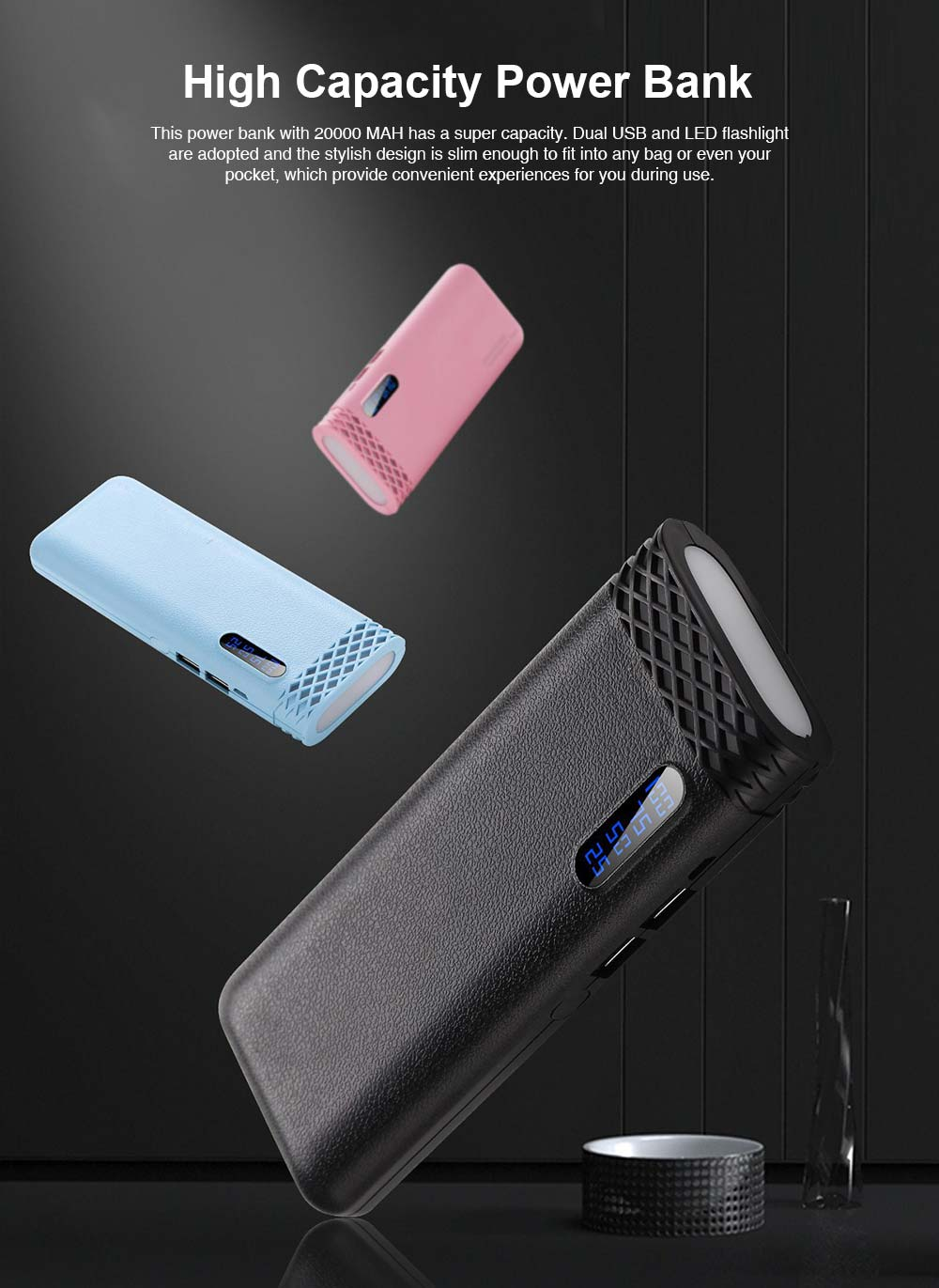 Ultra High Capacity 20000MAH Power Bank, Mini Portable External Battery for Mobile Phone 0
