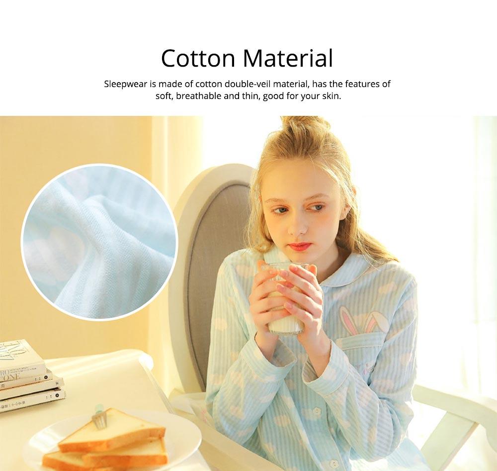 Sleepwear Fashionable Pajamas Set for Girl, Women Soft Long Sleeves Cotton Nightgown 1