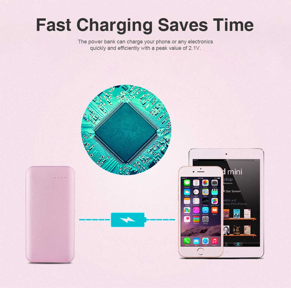 Portable Mental Power Bank, Ultra Thin 10000MAH Power Core with Retractable Data Cable 2