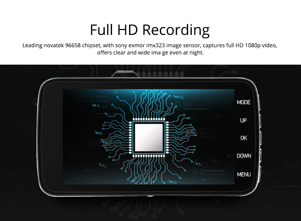 Driving Recorder 4 Inch Large Screen HD Front and Rear Double Recording Hidden 1080P Reversing Image Machine for Uber Taxi 1