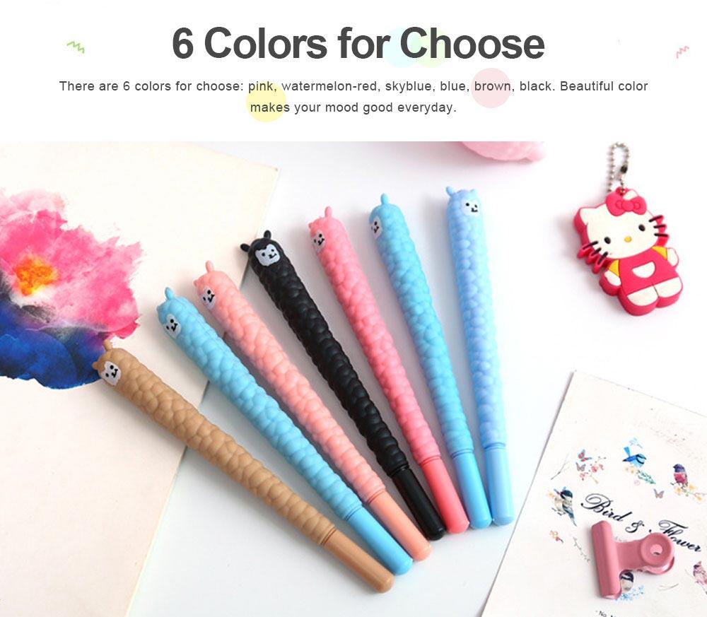 Cute Alpaca Soft Rubber Neutral Pen, Student Examination Black Ink Gel Pen, Writing Supplies Signature Pen 0.5mm 5