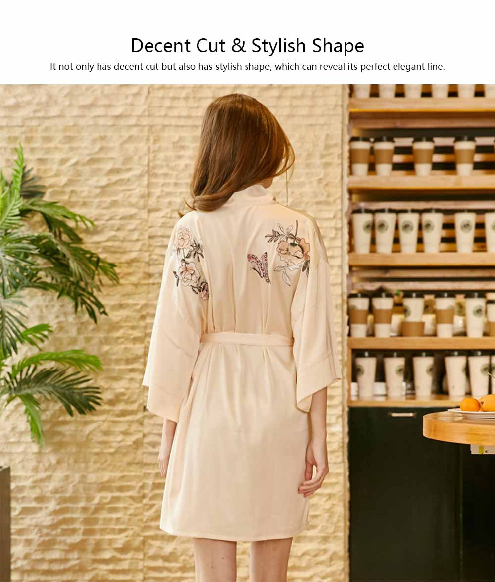 Peony Beautiful Embroidery Printing Sexy Nightgown, Female Summer Catwalk Imitation Silk Fabric Pajamas 5