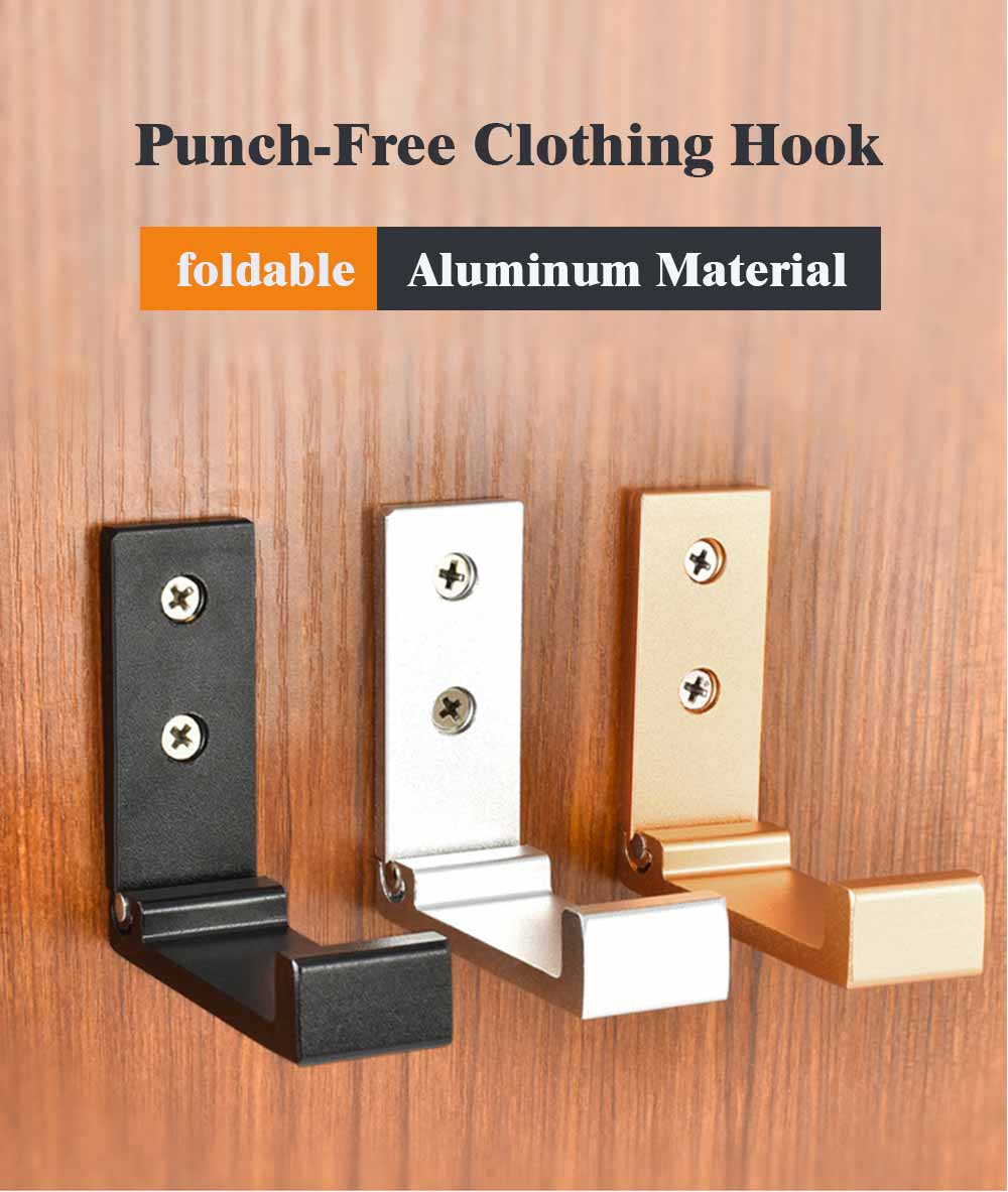 Metal Hook for Garments Tops Shorts Dress, Creative Folding Punch-Free Clothing Hook Universal Aluminum Hanger 0