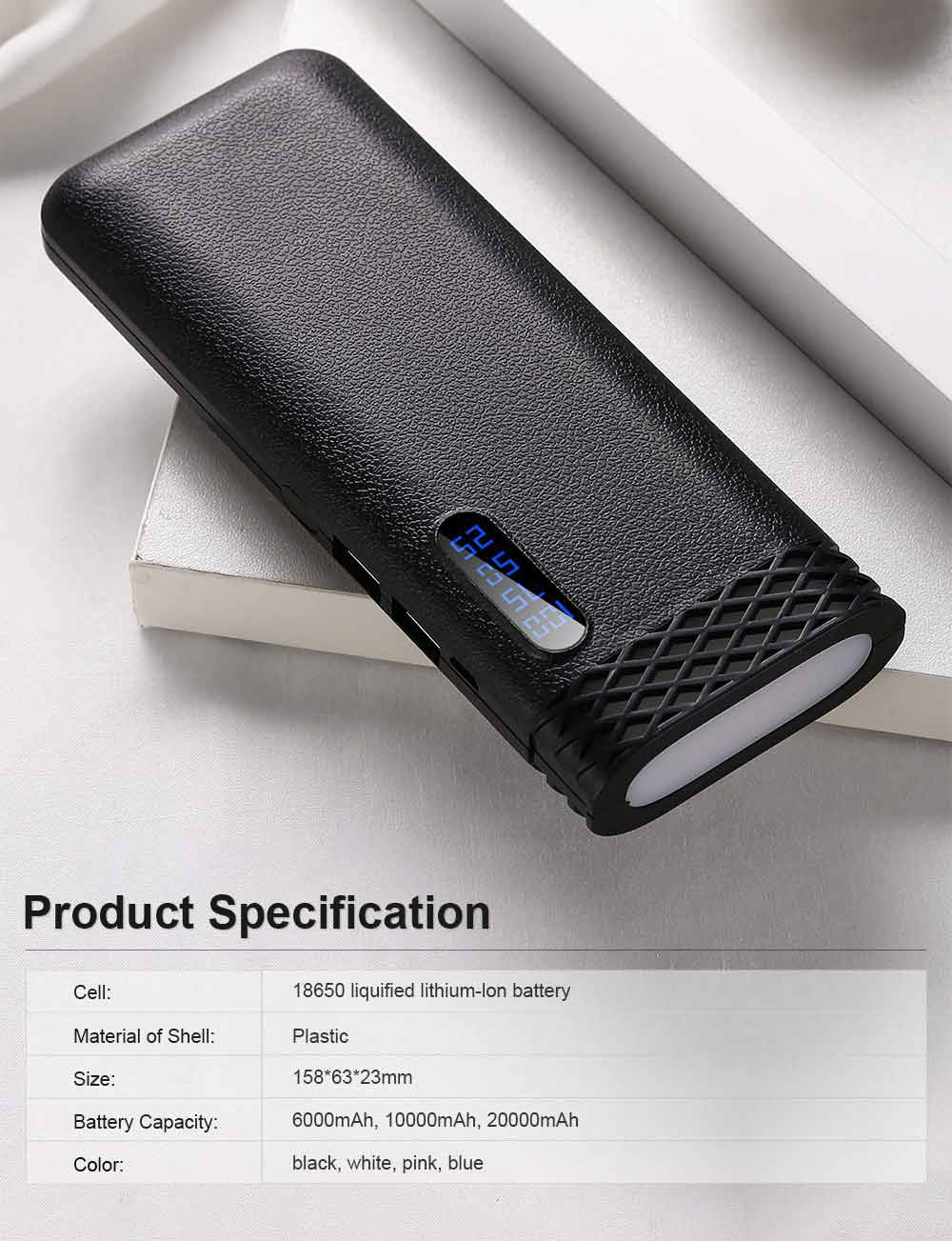Ultra High Capacity 20000MAH Power Bank, Mini Portable External Battery for Mobile Phone 6