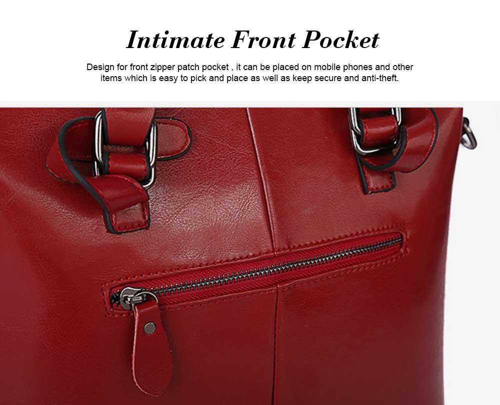 Oil Wax Leather Handbags With Adjustable Shoulder Strap, Fashion Ladies Portable Slung Shoulder Bag 3