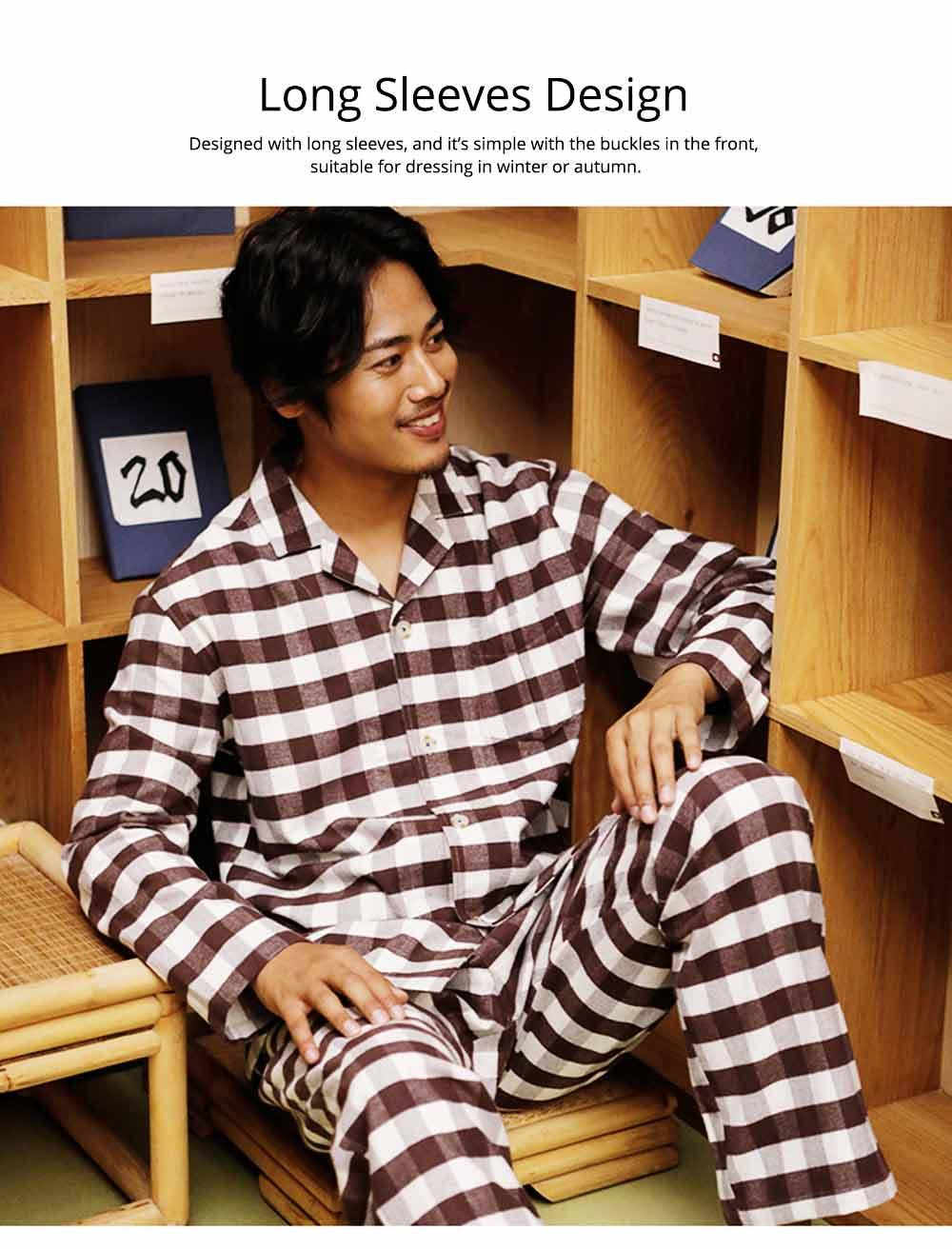 Stripe Nightgown Comfortable Pajamas Set for Men Long Sleeves Cotton Sleepwear Autumn Winter 7