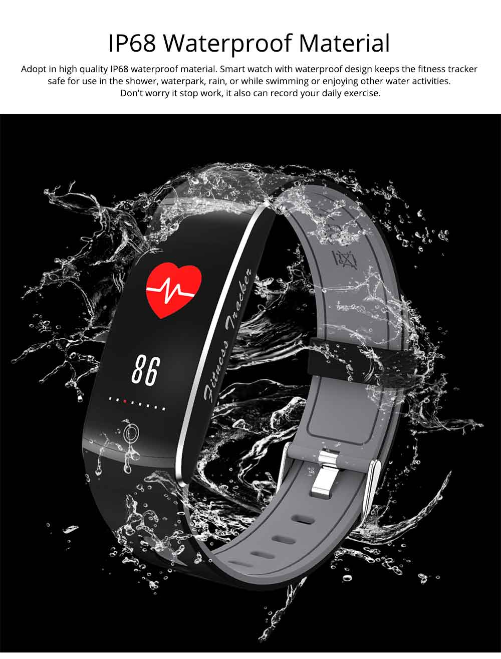 Waterproof Sports Bluetooth Smart Bracelet with Silicone Ultra-soft Watchband for Call Reminder and Rate Monitoring 2