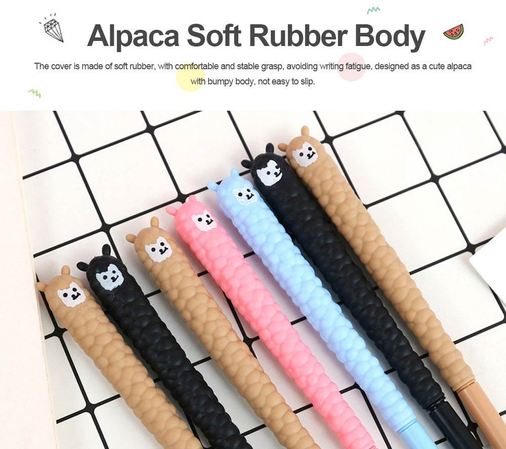 Cute Alpaca Soft Rubber Neutral Pen, Student Examination Black Ink Gel Pen, Writing Supplies Signature Pen 0.5mm 1