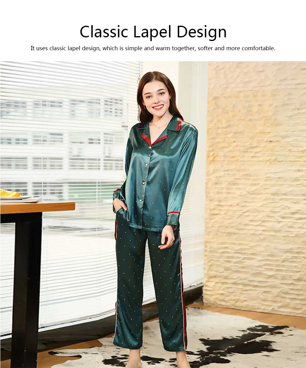 Breathable Soft Imitation Silk Fabric Pajamas, Women's Long-sleeve Trousers Printed Tracksuit 2019 1