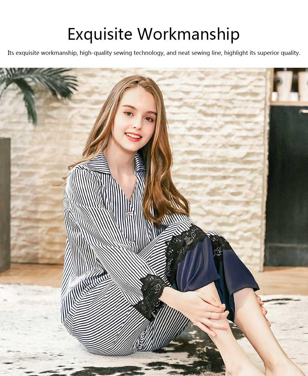 Soft Breathable Striped Stitching Pajamas, Female Imitation Silk Fabric Tracksuit set, Spring Autumn, 2019 1