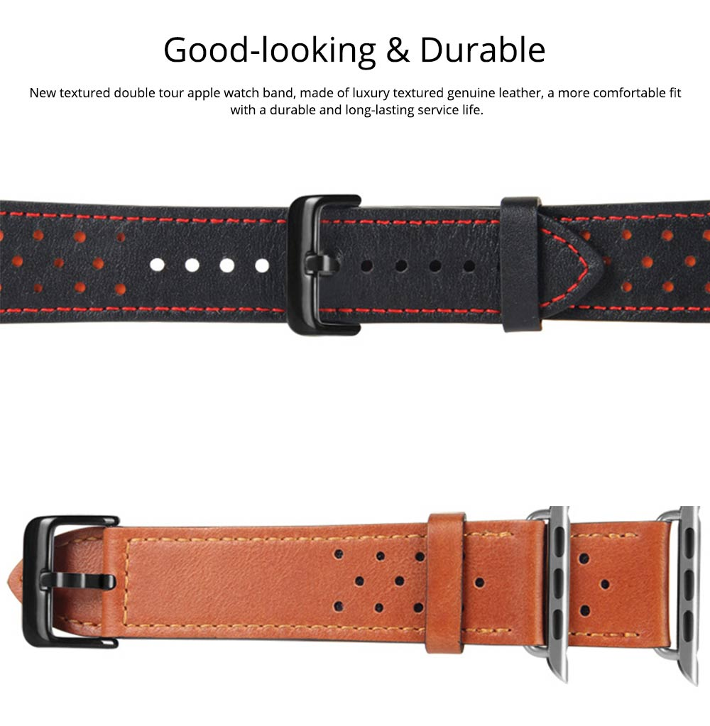Genuine Leather Apple Watchband Strap with Stainless Steel Watch Buckle, 220mm 4