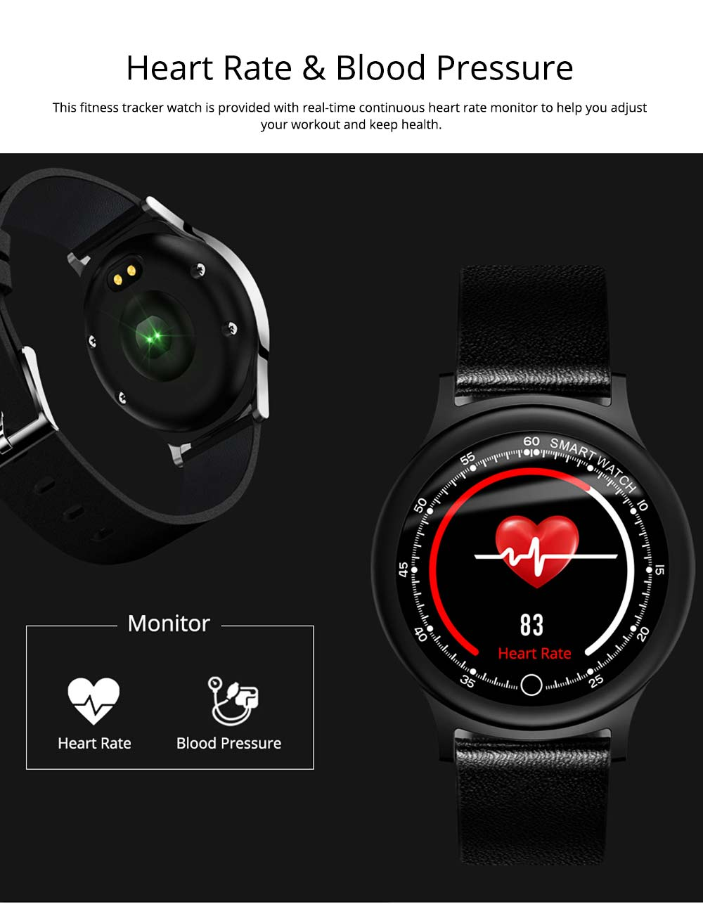 Smart Bracelet with Circle Color Screen for Heart Rate and Sleep Monitoring, Waterproof Business Bracelet 7