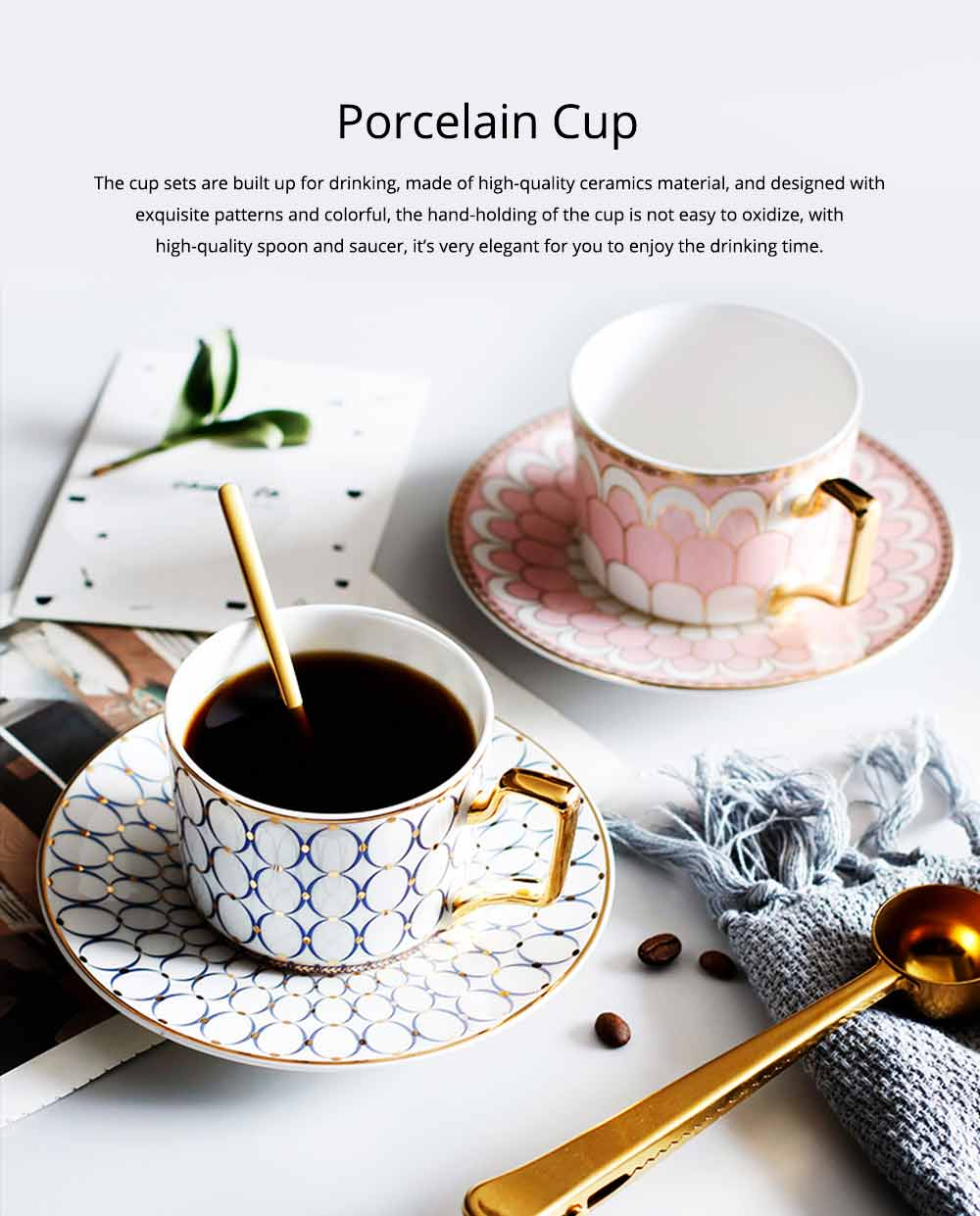 Ceramics Cups Sets - Tea Cup with Saucers Spoon, Exquisite Painting Porcelain Coffee Cups 0