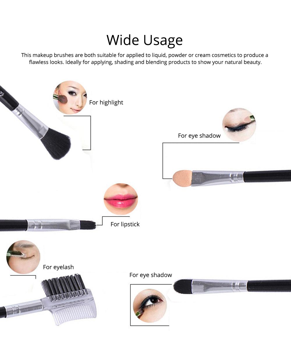 5 Sets of Makeup Brush Set with Texture Handle, Blush Foundation Brush Lips Brush Eyebrow Brush 5