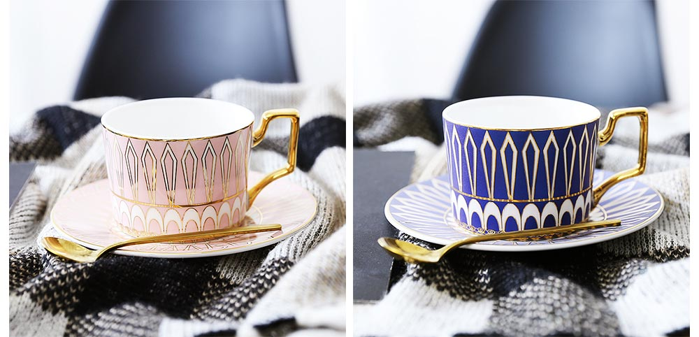 Ceramics Cups Sets - Tea Cup with Saucers Spoon, Exquisite Painting Porcelain Coffee Cups 14