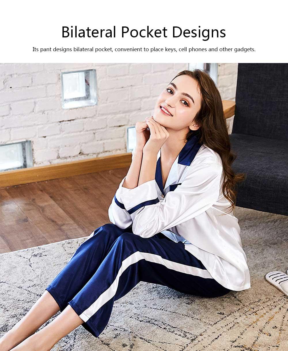 Classic Lapel Women's Long Sleeve Pajama 2 PCS Set, Imitation Silk Fabric Contrast Splicing Tracksuit 8
