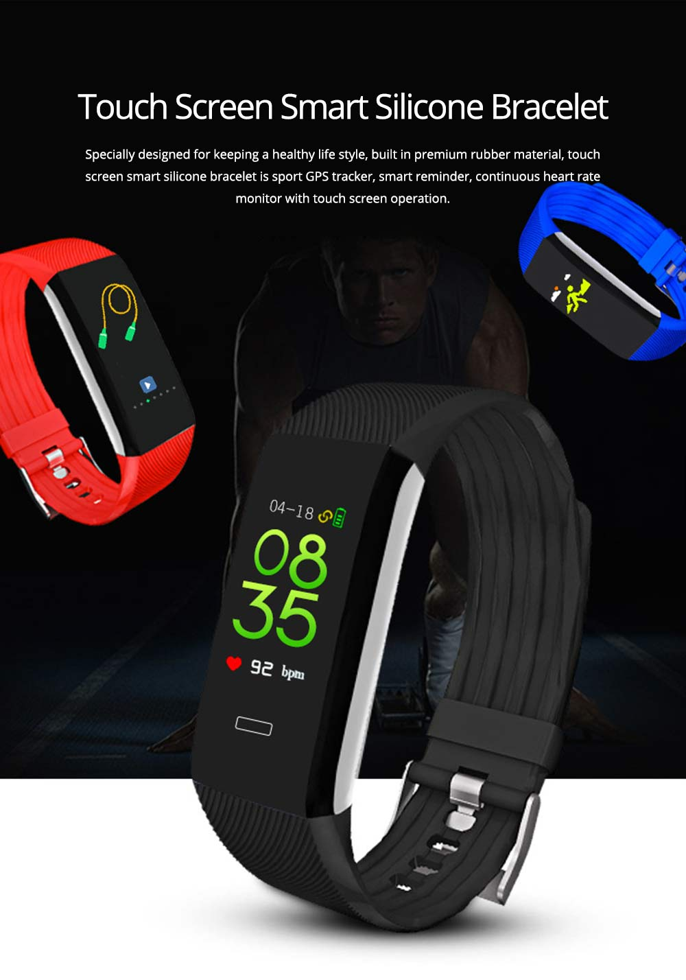 Waterproof Circle Color Screen Smart Bracelet with Multiple-sports Modes for Continuous Heart Rate Monitoring 0