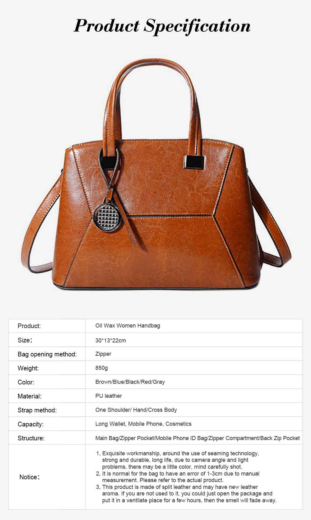Oil Wax PU Leather Handbags With Detachable Shoulder Strap, Fashion Ladies Portable Slung Shoulder Bag 6
