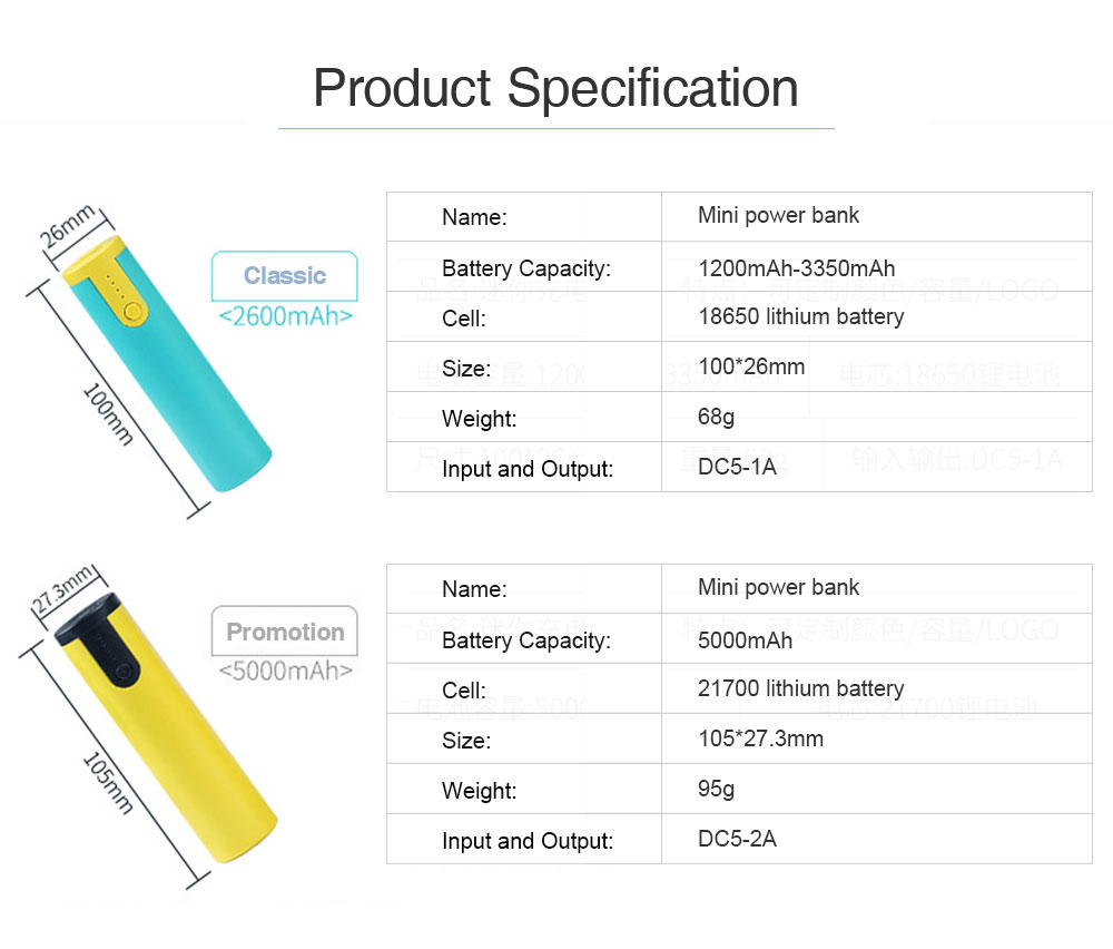 Mini Portable Cylinder Power Bank, 2600mAh Battery Charger for Smart Phone, Battery Charger Case with Flashlight 6