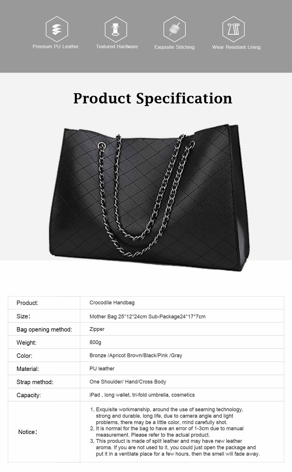 Rhombus Fabric Women's Shoulder Bag with Chain Strap, Fashion Mother Bag With Large Capacity 2 Set Handbags 6