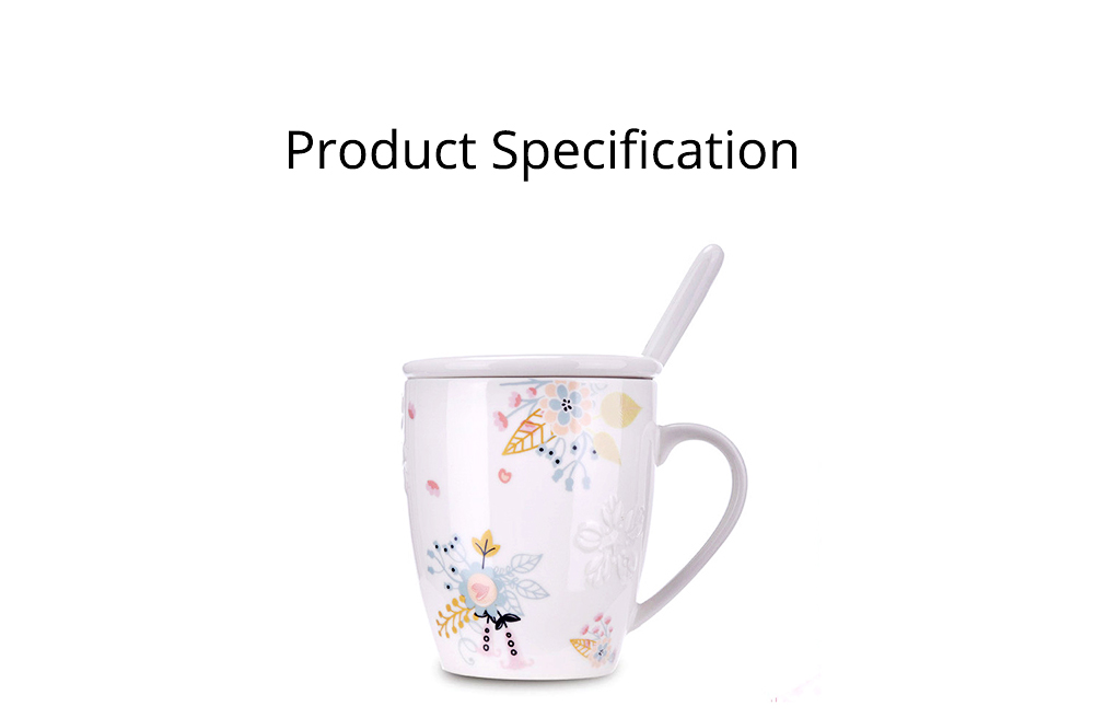 Ceramic Mug Embossed Painting with Cover Spoon for Office Water Coffee Porcelain Cup 8