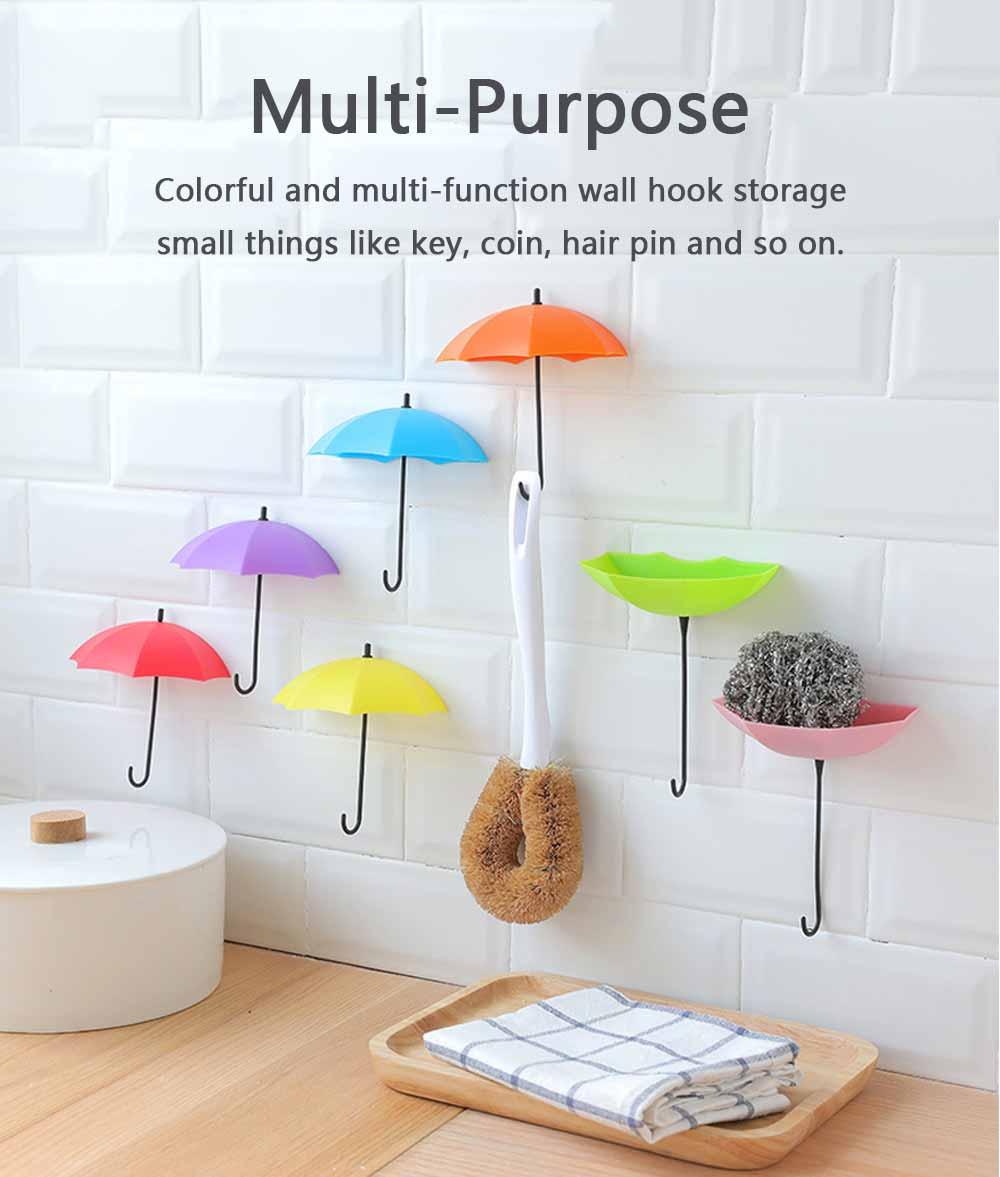 Umbrella Wall Hooks, Cute Little Sticky Hanging Hooks for Hat Purse Key Storage (3 packs) 4