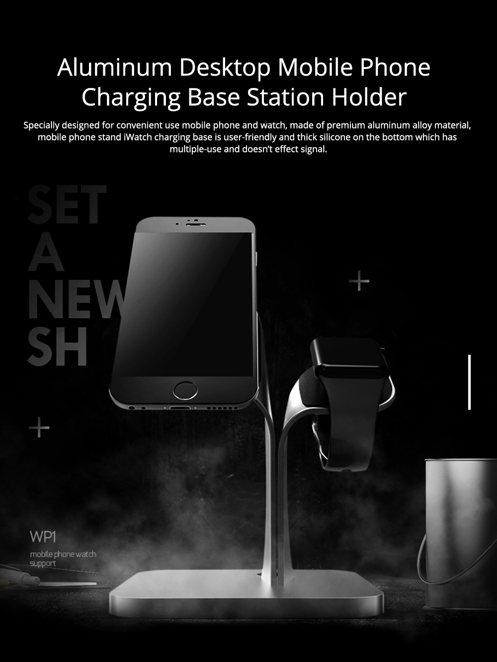 Mobile Phone Stand iwatch Charging Base, Aluminum Alloy Mobile Phone Display Stand Base Universal 0