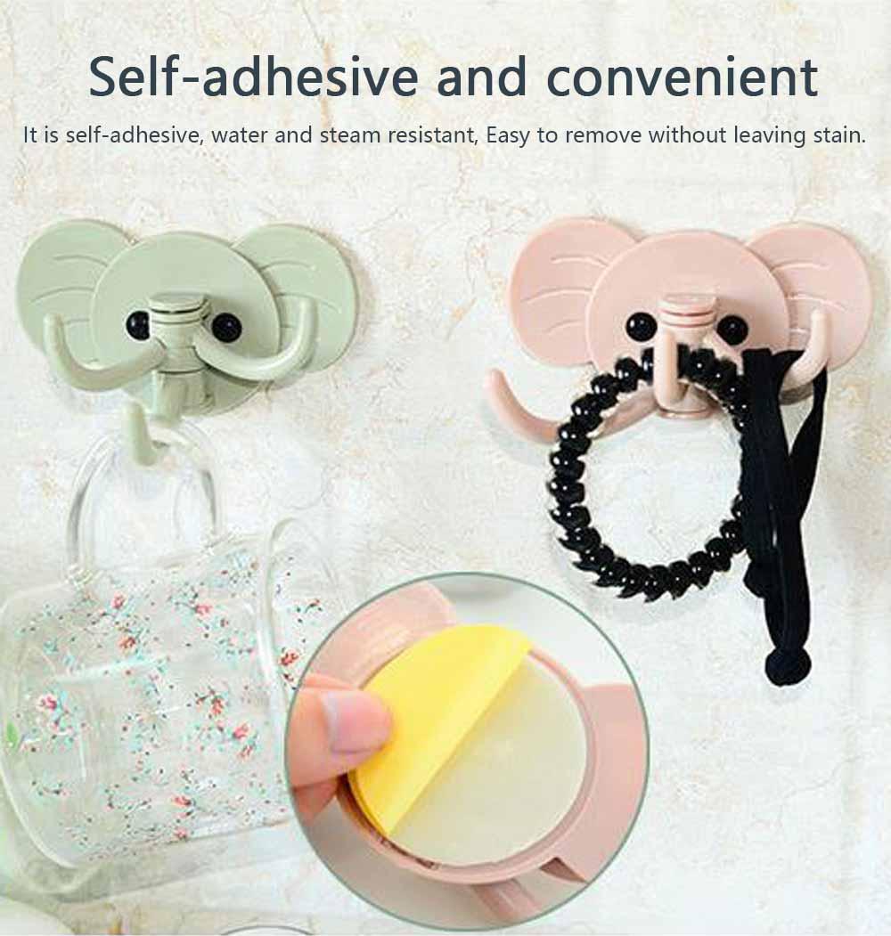 Cute Elephant Wall Sticky Hooks, Punch-Free, Waterproof Kitchen Bathroom Door Wall Hooks 4