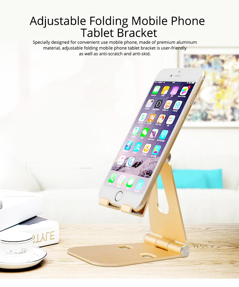 Aluminum Alloy Desktop Phone Holder, Portable Double Adjustable Folding Mobile Phone Tablet Bracket for Universal Compatibility 0