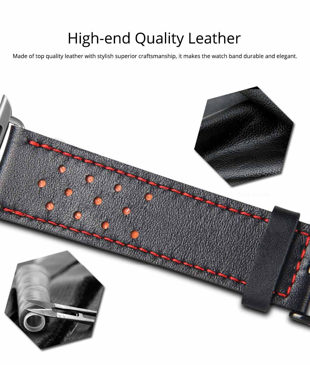 Genuine Leather Apple Watchband Strap with Stainless Steel Watch Buckle, 220mm 2