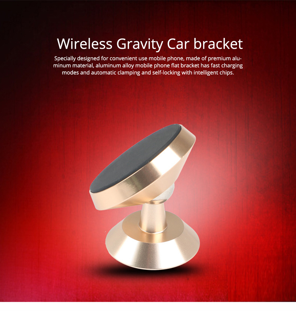 Wireless Gravity Car Bracket, Anti-vibration Air Outlet Mobile Navigation Car Bracket for Auto-Clamping and Anti-Skid Use 0