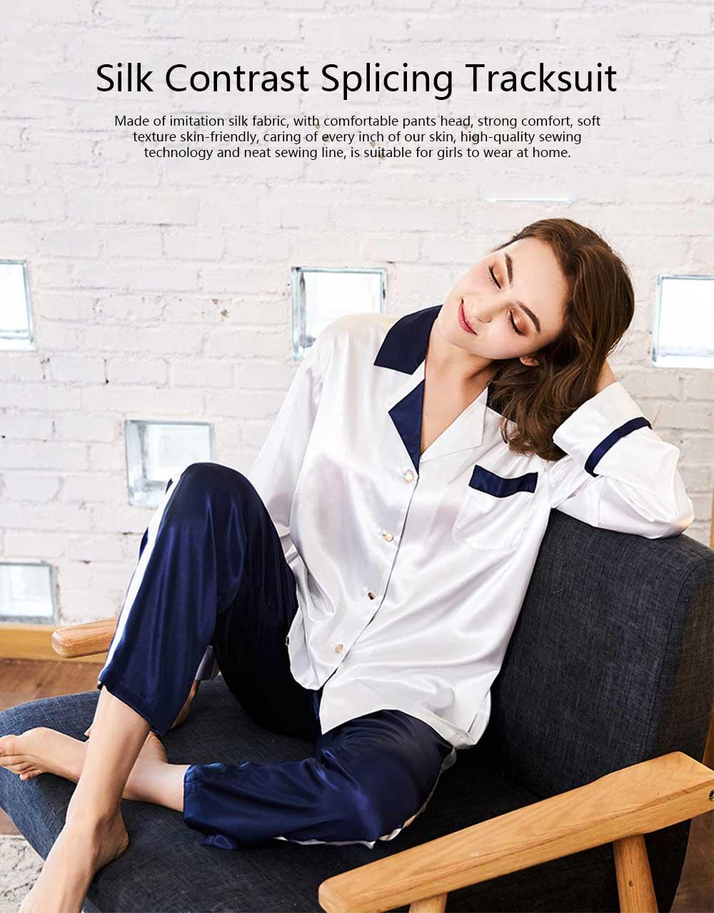 Classic Lapel Women's Long Sleeve Pajama 2 PCS Set, Imitation Silk Fabric Contrast Splicing Tracksuit 6