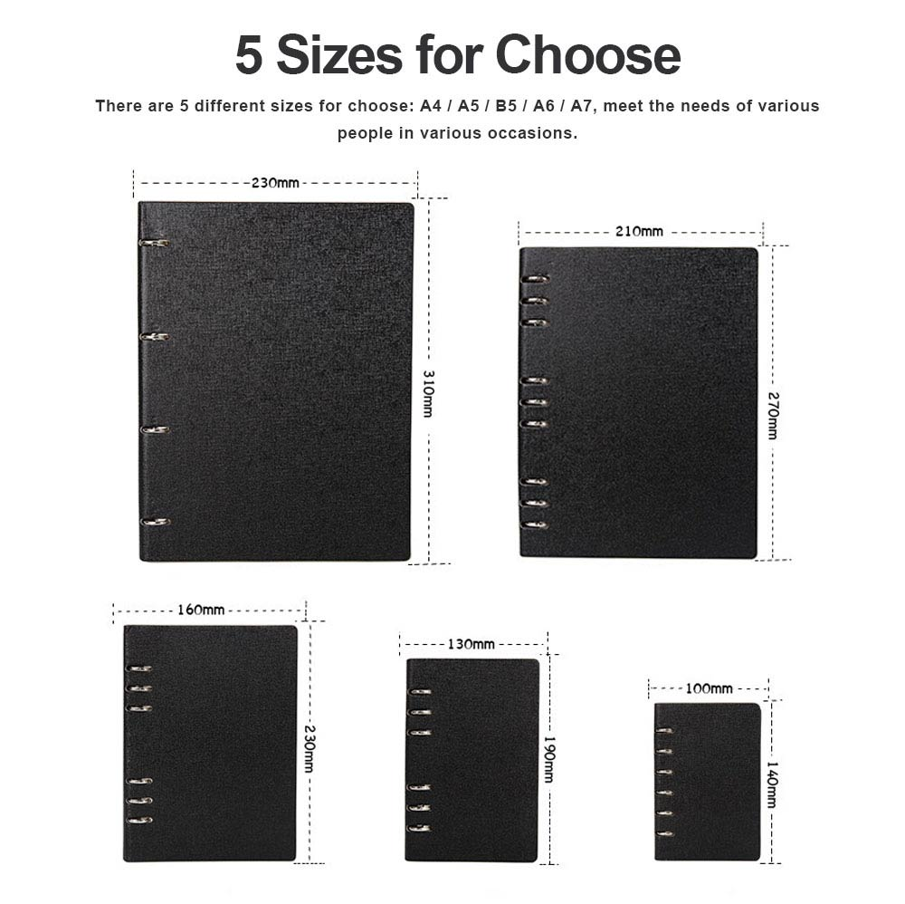Dark Color A4/A5/B5/A6/A7 PU Leather Loose Leaf Notebook, Uncoated Woodfree Paper Spiral Binder Cover 200 Pages 4