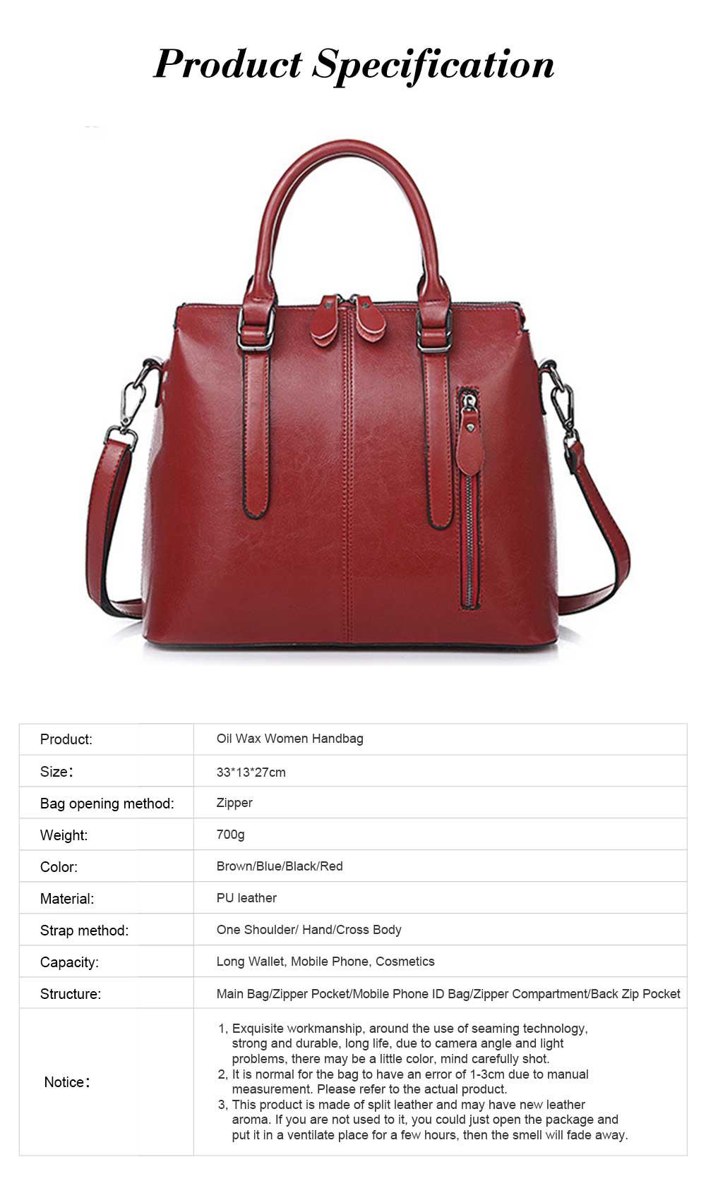 Oil Wax Leather Handbags With Adjustable Shoulder Strap, Fashion Ladies Portable Slung Shoulder Bag 7