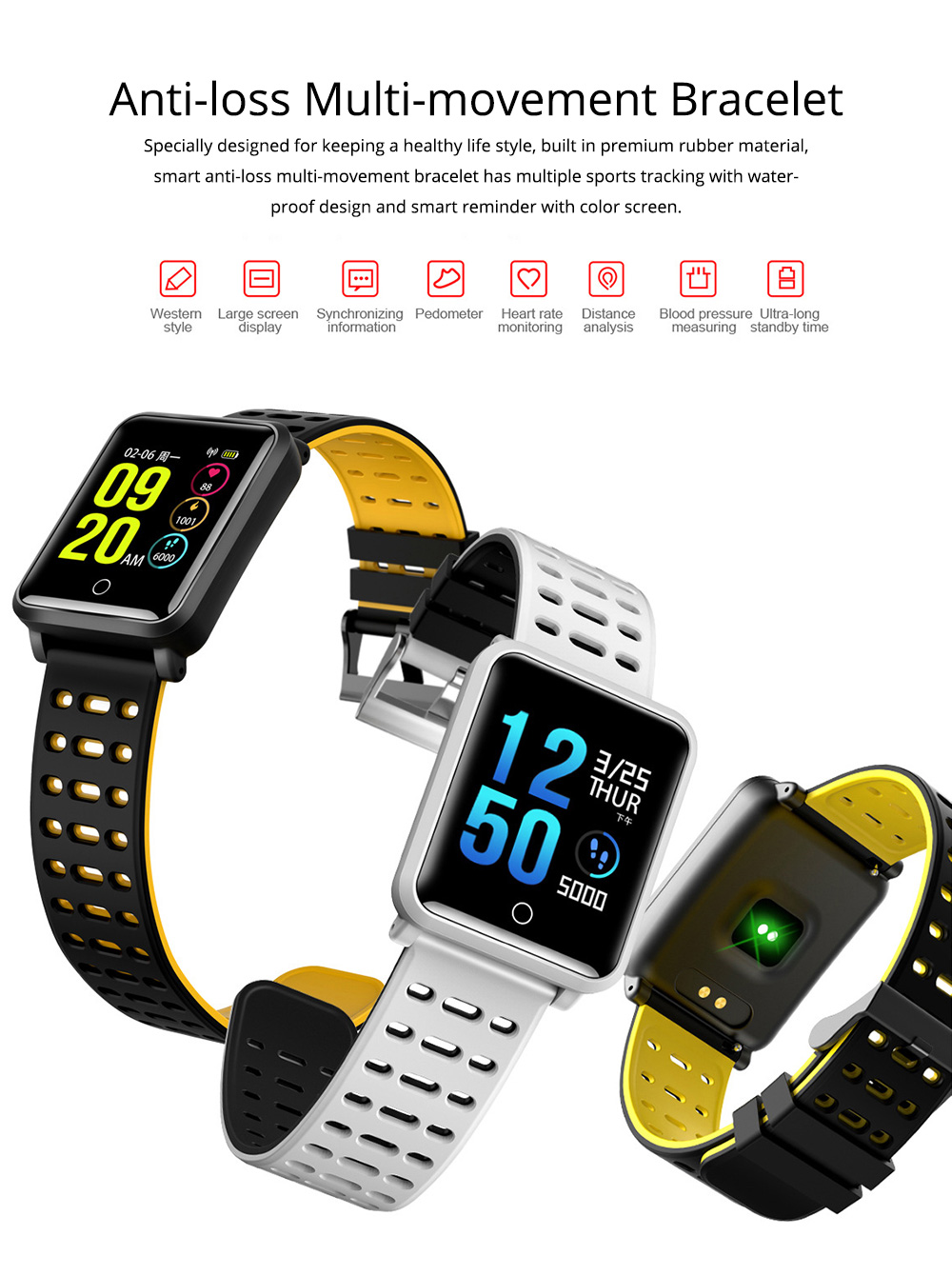 Smart Color Screen Watch for Heart Rate and Blood Pressure with IP68 Waterproof and Anti-loss Multi-movement Bracelet 0