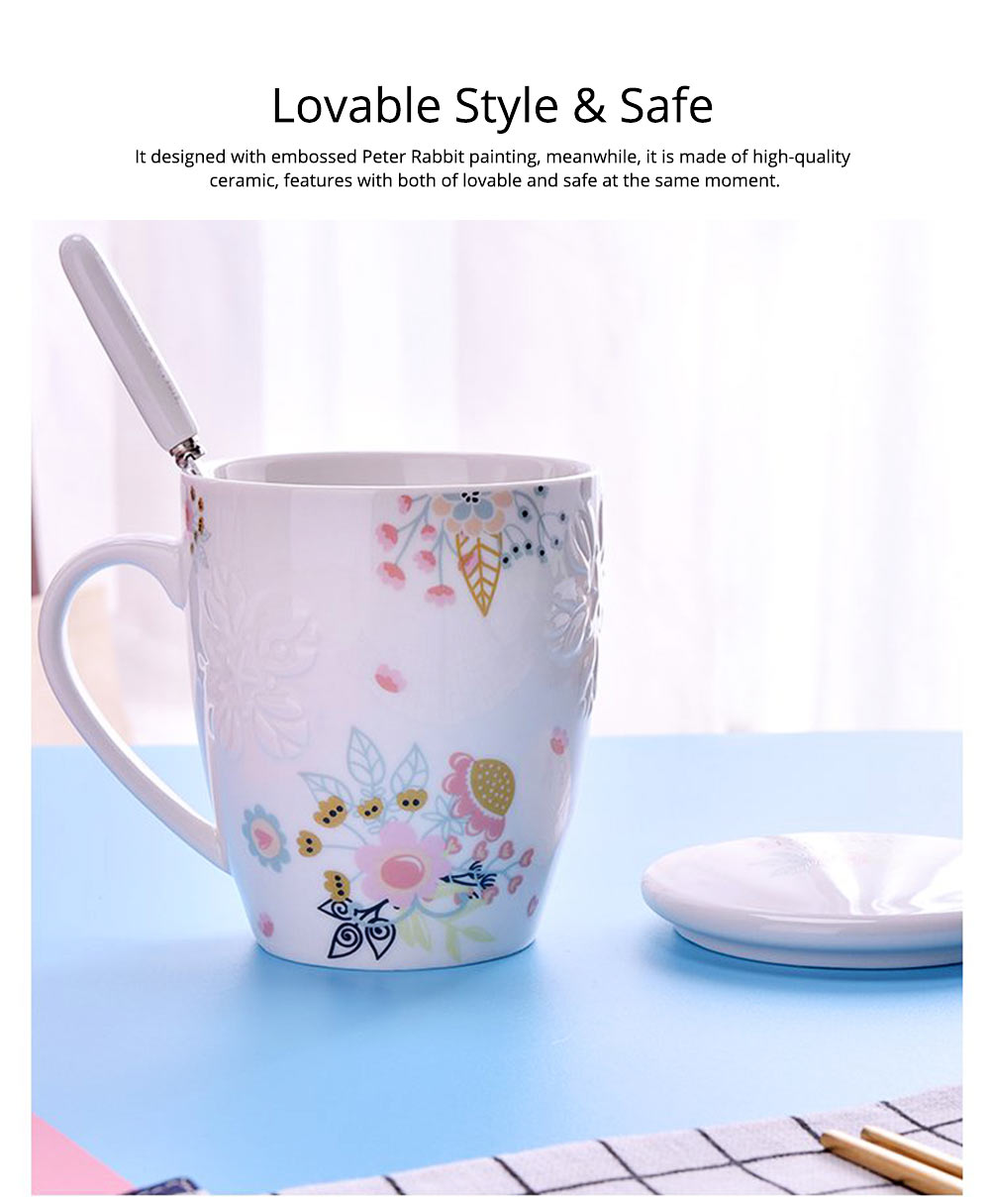 Ceramic Mug Embossed Painting with Cover Spoon for Office Water Coffee Porcelain Cup 6