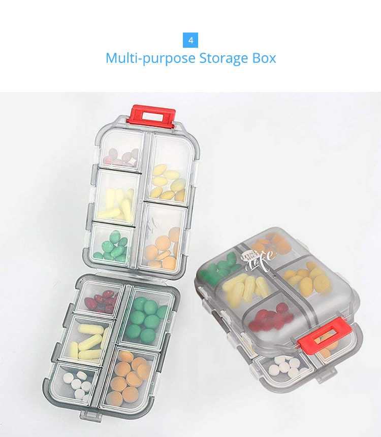 Bidear Travel Pill Case Portable Weekly Tablet Medicine Vitamin Pill Box for Purse or Pocket, 10 Compartments 5