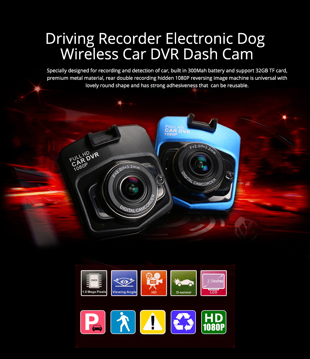Wireless Car DVR Dash Cam with GPS and Night Vision Function, Full HD 1080P 0