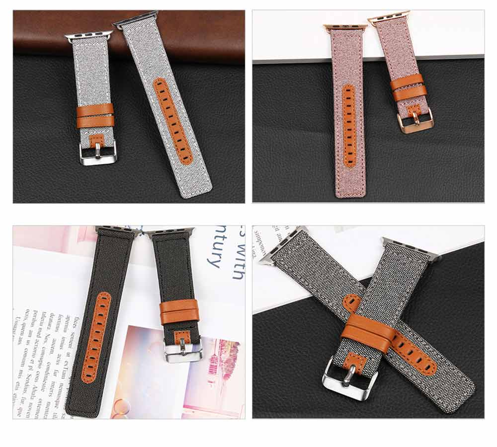 Genuine Leather Apple Watchband Strap with Stainless Steel Watch Buckle for Apple iWatch 1/2/3 9