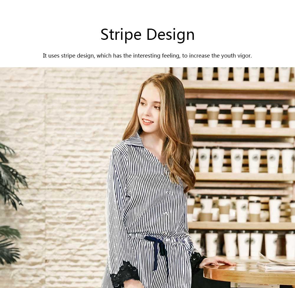 Soft Breathable Striped Stitching Pajamas, Female Imitation Silk Fabric Tracksuit set, Spring Autumn, 2019 4
